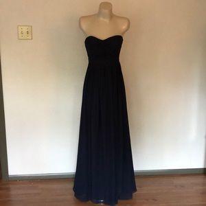 Navy strapless chiffon floor length dress